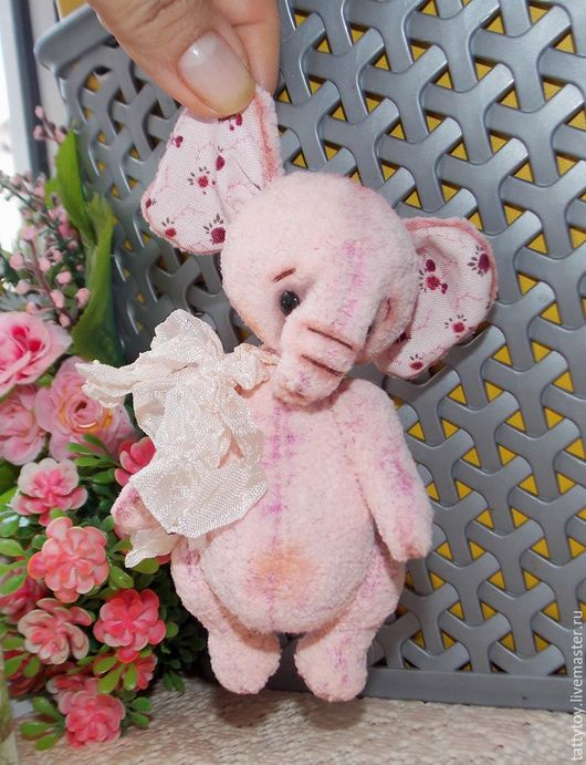 Мишки Тедди ручной работы. Ярмарка Мастеров - ручная работа. Купить Зефир со сливками. Handmade. Бледно-розовый, слоник