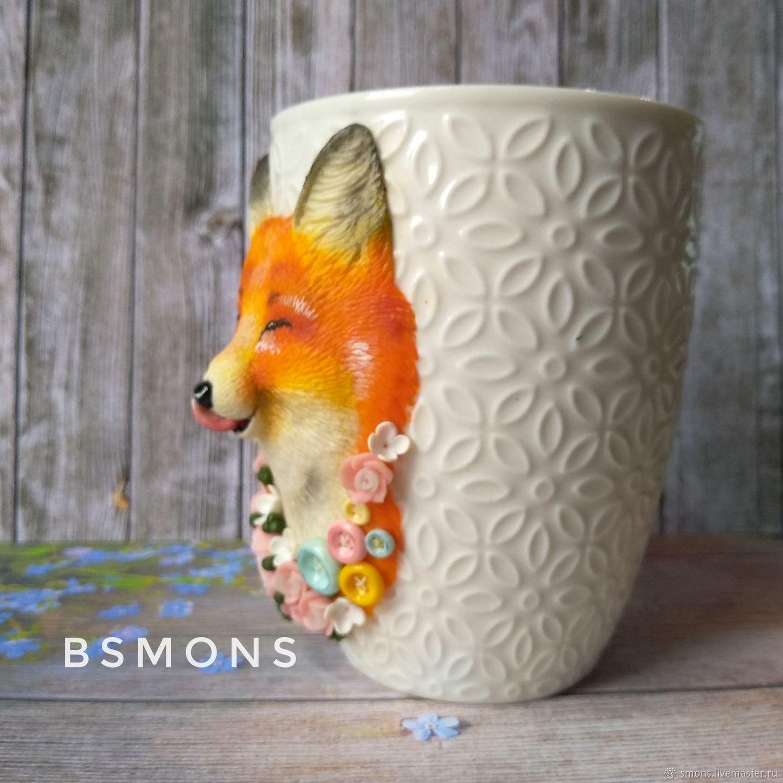 f204d8f3e1df Кружки и чашки ручной работы. Кружка с лисой из полимерной глины.  Мастерская BsMons.