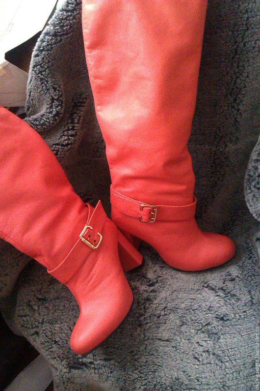 Обувь ручной работы. Ярмарка Мастеров - ручная работа. Купить сапоги зима (коралл). Handmade. Коралловый, зима, индивидуальный дизайн