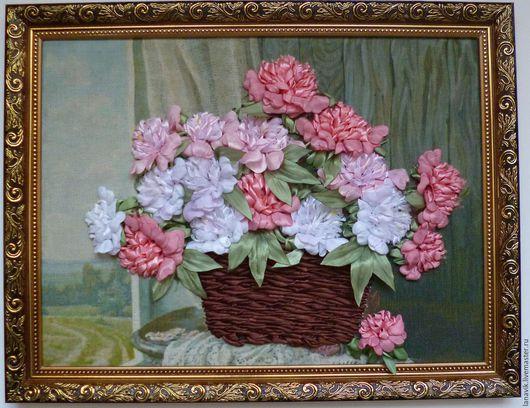 Картины цветов ручной работы. Ярмарка Мастеров - ручная работа. Купить Пионы в корзинке. Handmade. Комбинированный, подарок женщине