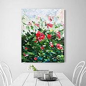 Картины ручной работы. Ярмарка Мастеров - ручная работа Купить картину маслом абстрактные летние цветы крупными мазками. Handmade.