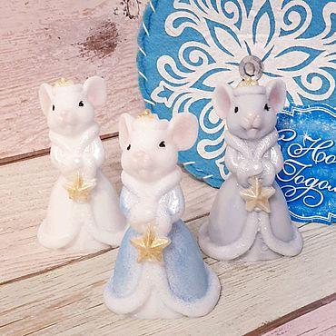 Косметика ручной работы. Ярмарка Мастеров - ручная работа Мыло мышь снегурочка. Новогоднее мыло крыска. Мыло мышка. Handmade.