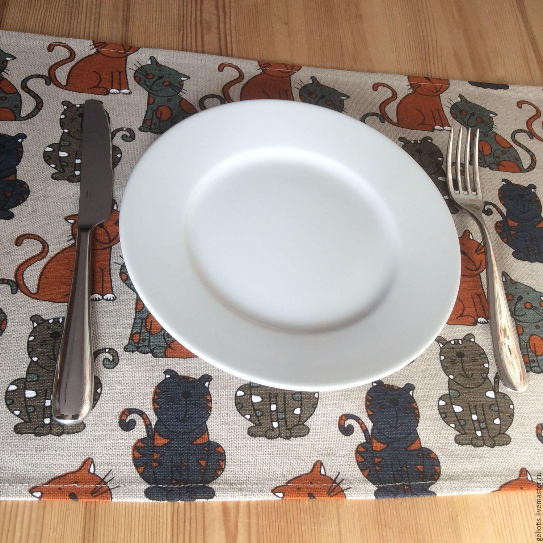 """Кухня ручной работы. Ярмарка Мастеров - ручная работа. Купить Персонник """"Котофеи"""". Handmade. Салфетка, для кухни, лен 100%, лён"""