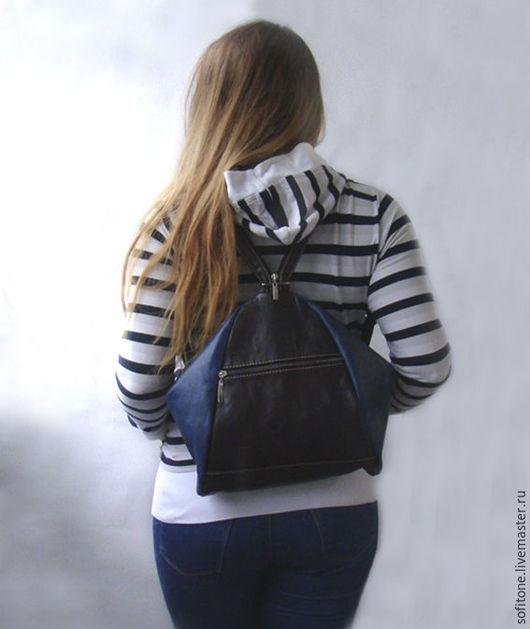 Рюкзаки ручной работы. Ярмарка Мастеров - ручная работа. Купить Сумка-Рюкзак Цвет Вишневый с синим. Handmade. Цветной рюкзак