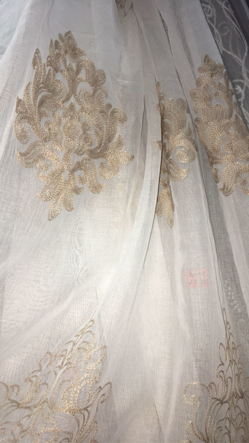 Tulle (ready ) under Linen with beige embroidery, Curtains, Mozhaisk,  Фото №1