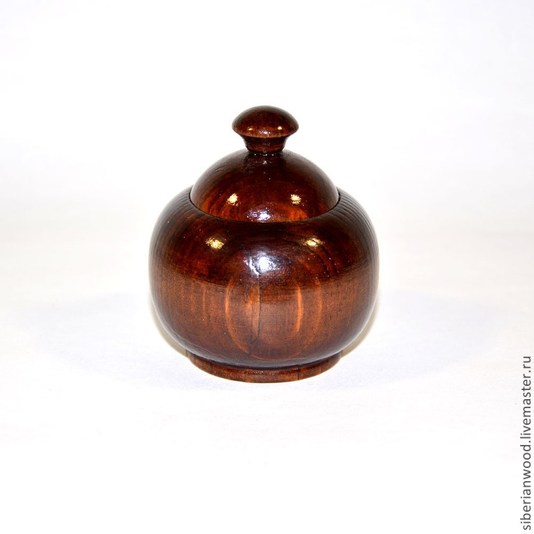 Potbelly small Wooden Bowl For spices Siberian Cedar #K15, Jars, Novokuznetsk,  Фото №1