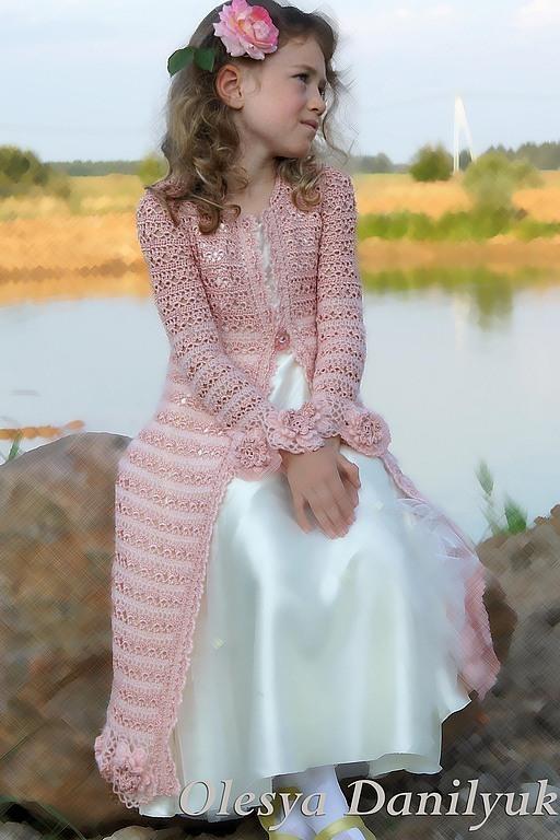 Верхняя одежда ручной работы. Ярмарка Мастеров - ручная работа. Купить Кружевное пальто для девочки  Алисы. Handmade. Бледно-розовый