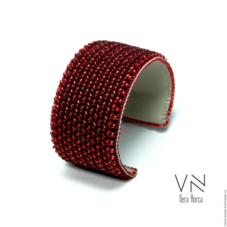 Браслет из японского бисера Рубиновые тени