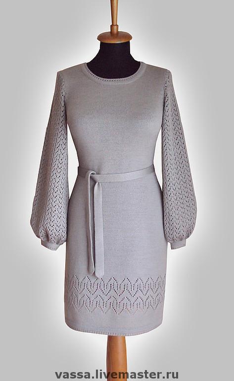 Платья ручной работы. Ярмарка Мастеров - ручная работа. Купить Платье с ажурными рукавами. Handmade. Вязаное платье, платье вязаное