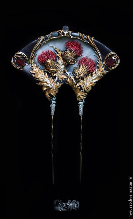 """Заколки ручной работы. Ярмарка Мастеров - ручная работа. Купить Шпилька """"Chardon royale"""". Handmade. Бордовый, модерн, филигрань, пастель"""