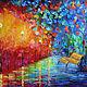 """Город ручной работы. Ярмарка Мастеров - ручная работа. Купить Картина """"Вечерний парк"""" - масло, холст (по мотивам Афремова). Handmade."""