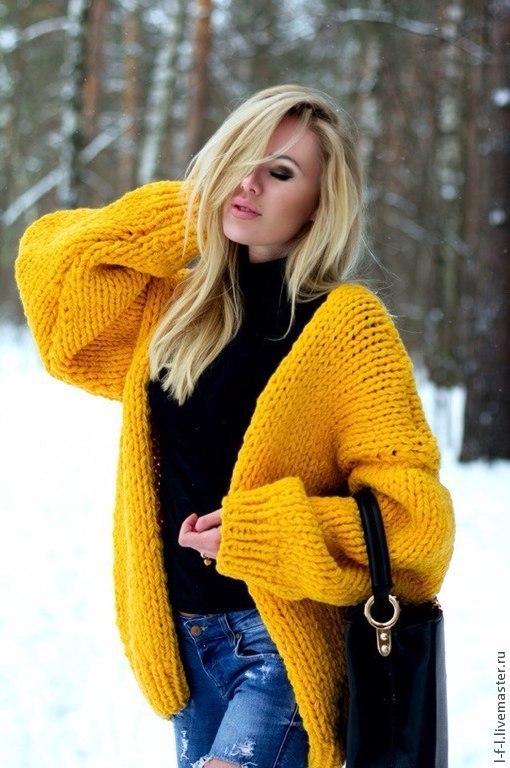 """Кофты и свитера ручной работы. Ярмарка Мастеров - ручная работа. Купить Вязаный кардиган """" Casual"""". Handmade. Желтый"""