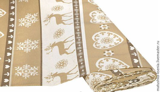 """Шитье ручной работы. Ярмарка Мастеров - ручная работа. Купить Ткань Германия """"Олени природа"""" Рождество Новый год для тильды пэчворк. Handmade."""