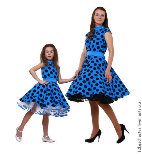 Платья ручной работы. Ярмарка Мастеров - ручная работа. Купить Платья для мамы и дочки Анастасия, комплект. Handmade. Синий