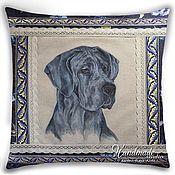 Картины и панно ручной работы. Ярмарка Мастеров - ручная работа Портрет собаки по фото. Декоративная подушка - Дог голубой. Handmade.