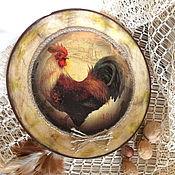 Подарки к праздникам ручной работы. Ярмарка Мастеров - ручная работа Декоративная тарелка Ретро петушок. Handmade.