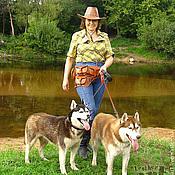Аксессуары ручной работы. Ярмарка Мастеров - ручная работа Сумка-пояс кожаная для прогулки с собакой. Handmade.