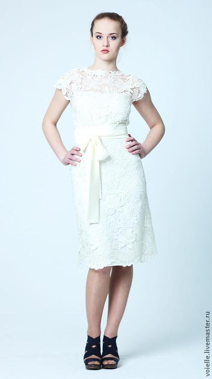 b8af4c3c132b0f4 ... Платье кружевное белое летнее свадебное нарядное, на выпускной, из кружева  вечернее, с коротким