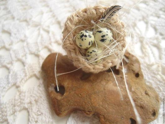 Кольца ручной работы. Ярмарка Мастеров - ручная работа. Купить Кольцо Гнездо. Handmade. Серый, гнездо, льняное украшение