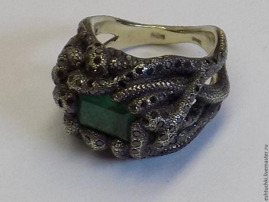 """Кольца ручной работы. Ярмарка Мастеров - ручная работа. Купить Кольцо """"Изумрудное болото"""". Handmade. Тёмно-зелёный, изумруд натуральный"""