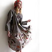 Одежда ручной работы. Ярмарка Мастеров - ручная работа Платье в стиле бохо из двух видов хлопка W1. Handmade.