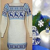 Одежда handmade. Livemaster - original item Sweater dress knitted with reindeer and Norwegian ornament snow maiden. Handmade.