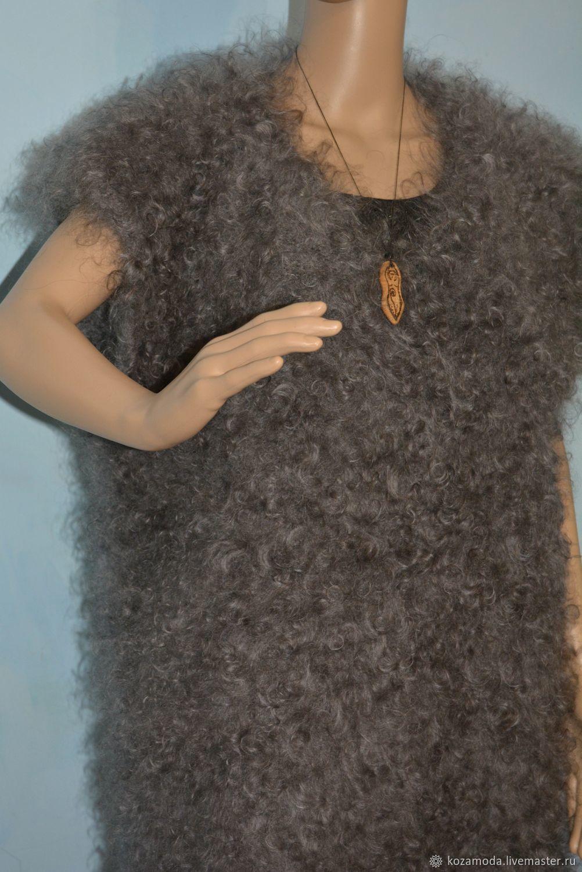 Пуховый жилет-безрукавка вязаный мужской женский 100% ...