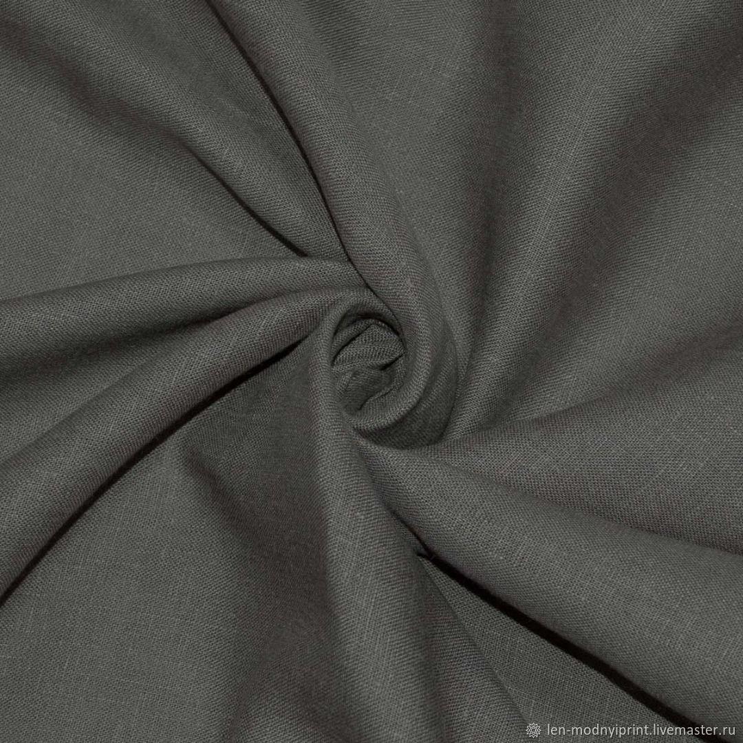 Ткань льняная костюмно-плательная Кофейно-серый