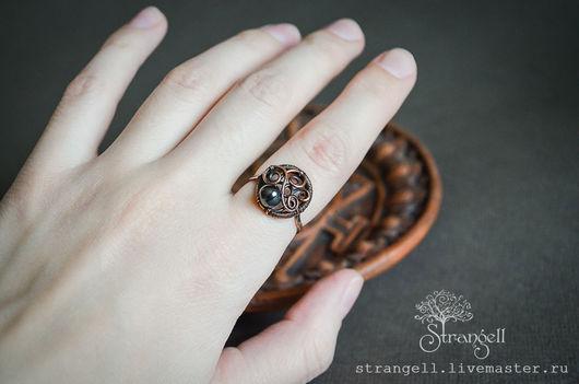 Кольца ручной работы. Ярмарка Мастеров - ручная работа. Купить Медное кольцо с гематитом - тонкое кольцо с натуральным камнем. Handmade.