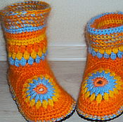 Обувь ручной работы. Ярмарка Мастеров - ручная работа тапочки- сапожки. Handmade.