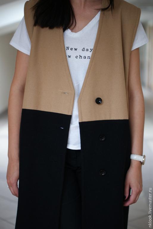 Верхняя одежда ручной работы. Ярмарка Мастеров - ручная работа. Купить Пальто-жилет. Handmade. Бежевый, жилет, уличная мода