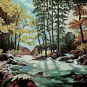 Картины и панно ручной работы. Ярмарка Мастеров - ручная работа Картина маслом на холсте Река в Лесу. Handmade.