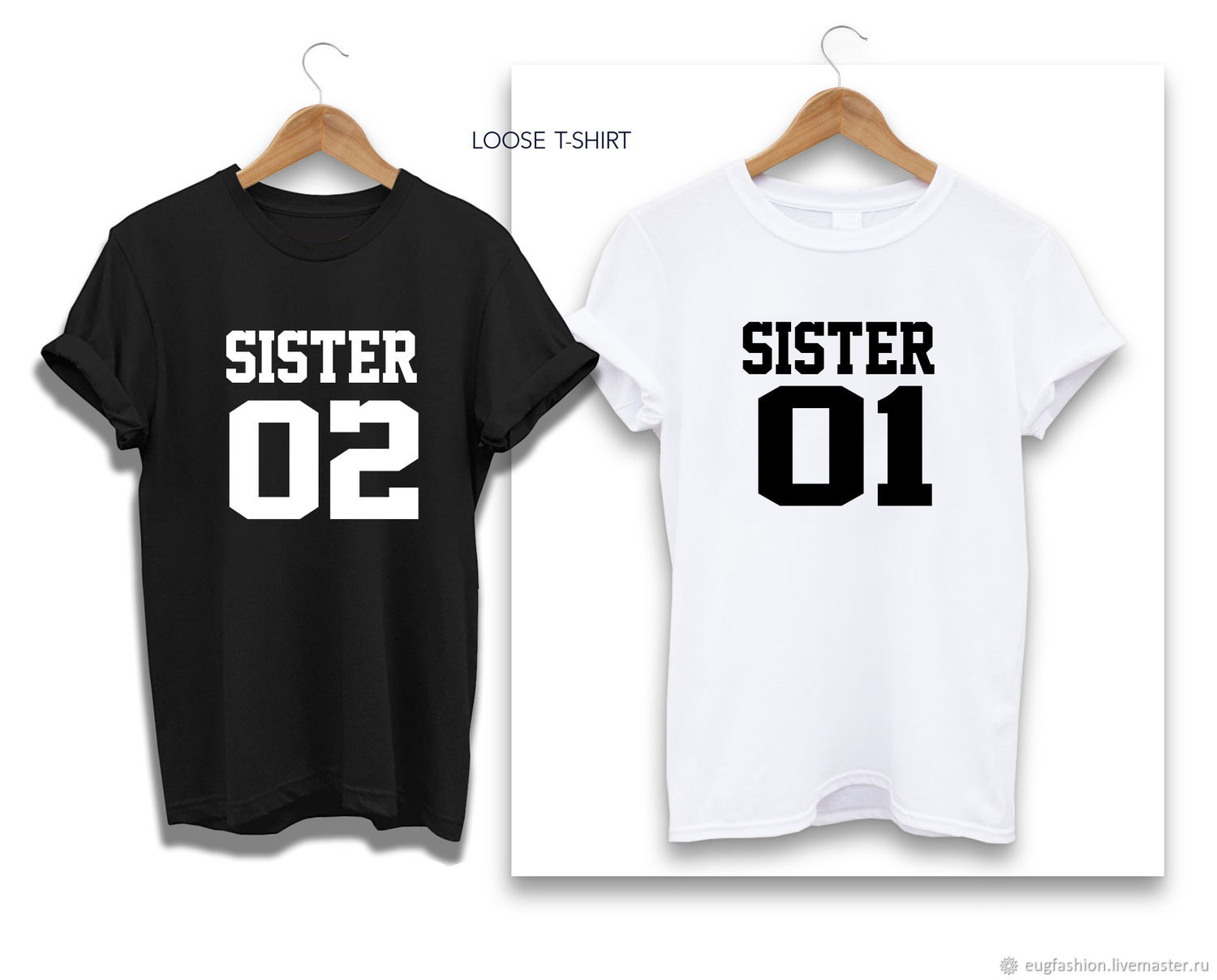 Cotton t-shirt with 'sisters' print - TEE10196CT, T-shirts, Sofia,  Фото №1