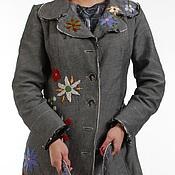 Одежда ручной работы. Ярмарка Мастеров - ручная работа Серый джинсовый бохо- плащ с вышивкой. Handmade.