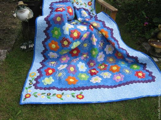 Текстиль, ковры ручной работы. Ярмарка Мастеров - ручная работа. Купить Одеяло Цветочная поляна. Handmade. Синий, стеганое одеяло