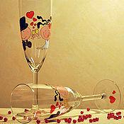 """Свадебный салон ручной работы. Ярмарка Мастеров - ручная работа Свадебные бокалы (фужеры) """"Про любовь"""". Handmade."""
