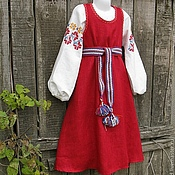 Русский стиль handmade. Livemaster - original item Russian folk costume for girls/ linen, hand embroidery. Handmade.