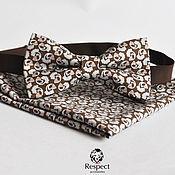 Аксессуары ручной работы. Ярмарка Мастеров - ручная работа Коричневая бабочка галстук с узором Пейсли + мужской нагрудный платок. Handmade.