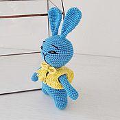 Куклы и игрушки handmade. Livemaster - original item Bunny blue in a yellow vest.. Handmade.