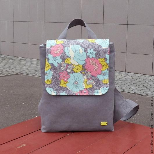 """Рюкзаки ручной работы. Ярмарка Мастеров - ручная работа. Купить Рюкзак """" Весенняя бабочка"""". Handmade. Серый, рюкзак для девушки"""