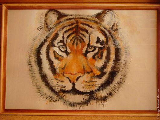 Животные ручной работы. Ярмарка Мастеров - ручная работа. Купить Картина Тигр. Handmade. Бежевый, для украшений, для дома и интерьера, для детей