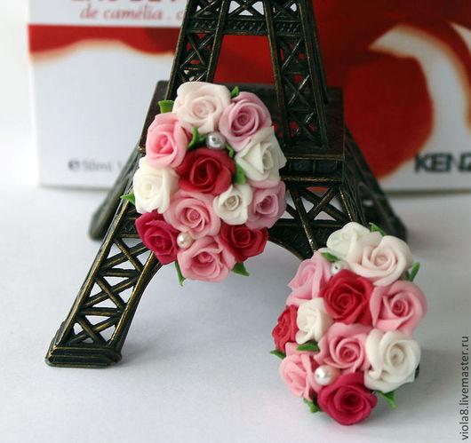 клипсы,клипсы с жемчугом,серьги с жемчугом,серьги с цветами,клипсы с цветами,клипсы с розами,серьги с розами,цветы из полимерной глины.Цветы и украшения Зарифы Пироговой.viola8