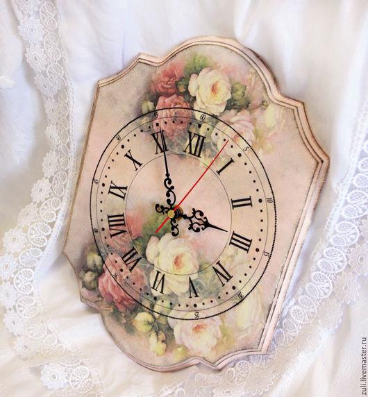 """Часы для дома ручной работы. Ярмарка Мастеров - ручная работа. Купить Часы настенные """"Розы на розовом"""". Handmade. Часы настенные"""