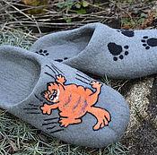 """Обувь ручной работы. Ярмарка Мастеров - ручная работа тапочки валяные мужские """" Гарфилд"""". Handmade."""