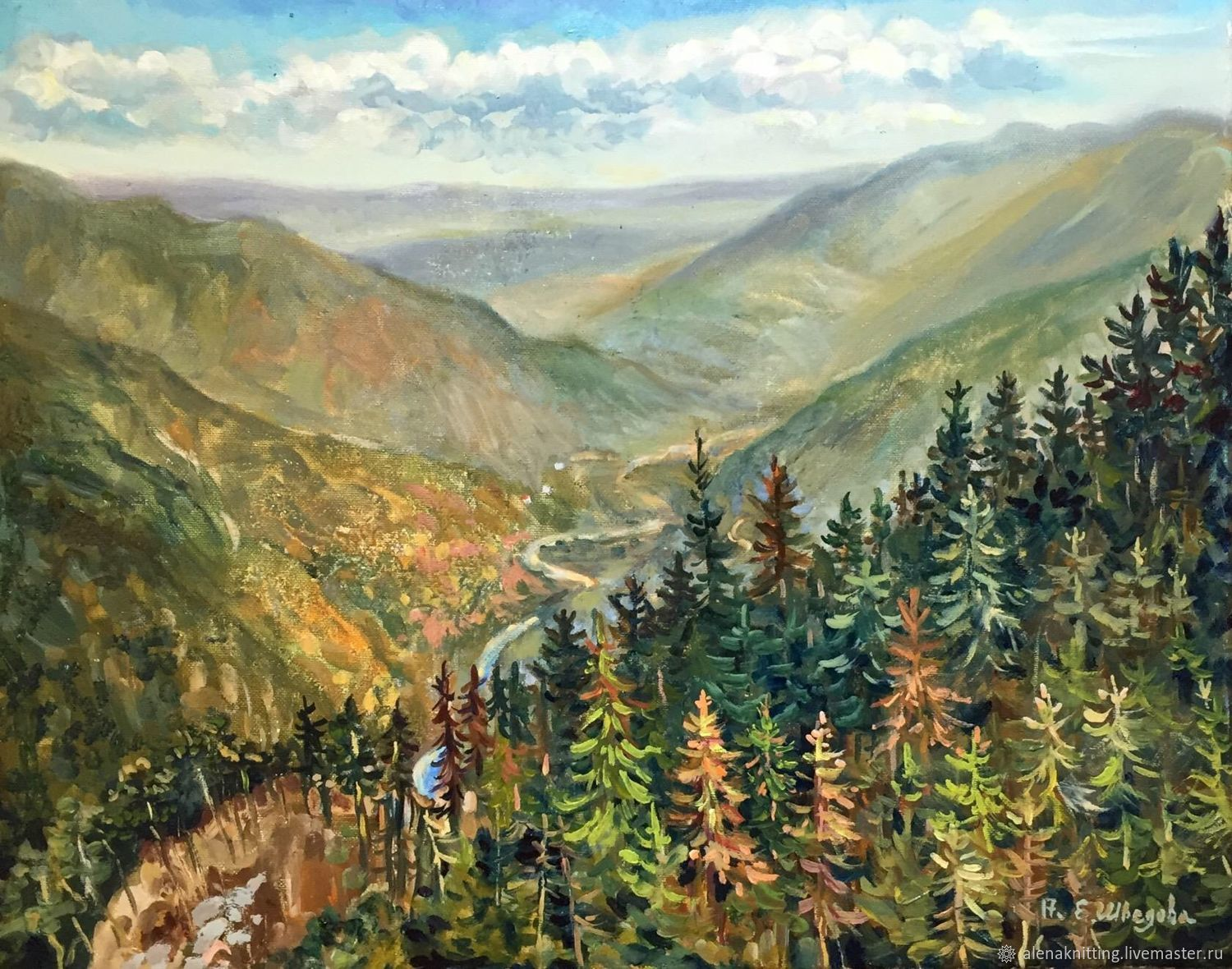 Oil painting `In the mountains.Montenegro`( oil on canvas) 40h50, 2017, unframed.