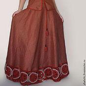 """Одежда ручной работы. Ярмарка Мастеров - ручная работа Длинная льняная юбка  с кружевом  """"Корица """". Handmade."""