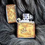 "Сувениры и подарки handmade. Livemaster - original item Зажигалка zippo обтянутая берестой ""Рыбалка"". Handmade."