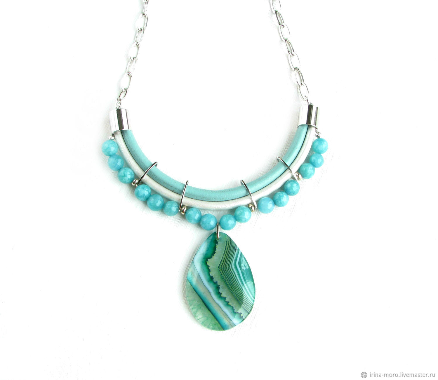 Turquoise necklace with 'Turquoise mood' pendant with agate, Necklace, Moscow,  Фото №1
