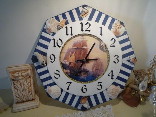 Часы для дома ручной работы. Ярмарка Мастеров - ручная работа. Купить Настенные часы Морские. Handmade. Синий, часы для дома