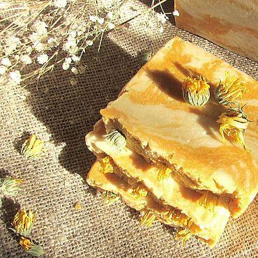 Косметика ручной работы. Ярмарка Мастеров - ручная работа Солнечная календула натуральное мыло с нуля (осень солнце облепиха). Handmade.
